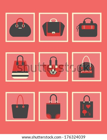Unique fashionable women purse square icons - Cute and different shapes in pink, red, creamy and black - stock vector