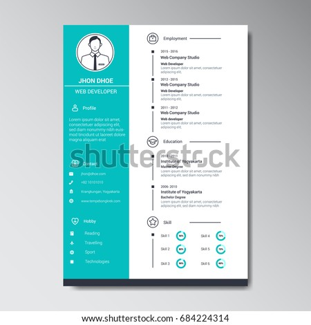 Unique Flat Color Curriculum Vitae Design Stock Vector