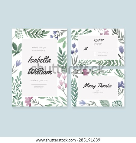 Unique gentle vector wedding cards template with watercolor. Wedding invitation or save the date, RSVP and thank you card for bridal design. Vector watercolor postcard with floral decoration.  - stock vector