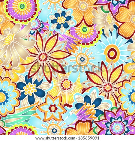 Unique hand drawn abstract vector floral background. Seamless pattern.