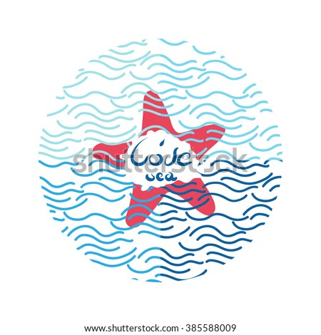 Unique hand drawn lettering poster saying I love sea with waves, shell, starfish. Vector template for typography and textile products, poster, card, invitation, t-shirt.  Design element for printing.