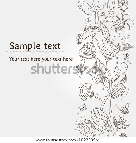 Unique hand drawn seamless floral pattern with butterflies and bees. Vector illustration with place for your text. Can be used for wallpaper, pattern fills, web page background, surface textures. - stock vector