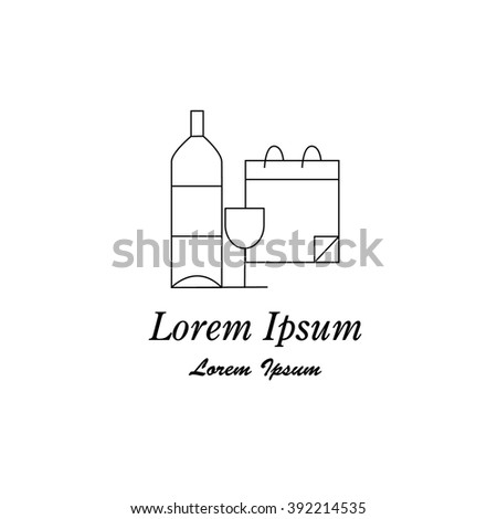 Unique modern logotype with winery symbol botle and glass made in modern line style vector. Easy to use business template. Wines series. - stock vector