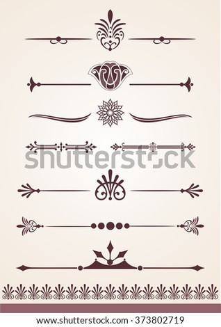 Unique page and text dividers and decorative design elements - stock vector