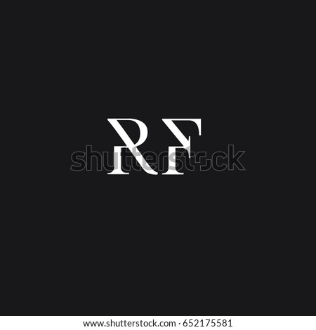 Unique perfect modern stylish attractive geometric black and white color RF  FR R F initial based letter. Unique Perfect Modern Stylish Attractive Geometric Stock Vector