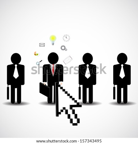 Unique person in the crowd of businessman - stock vector