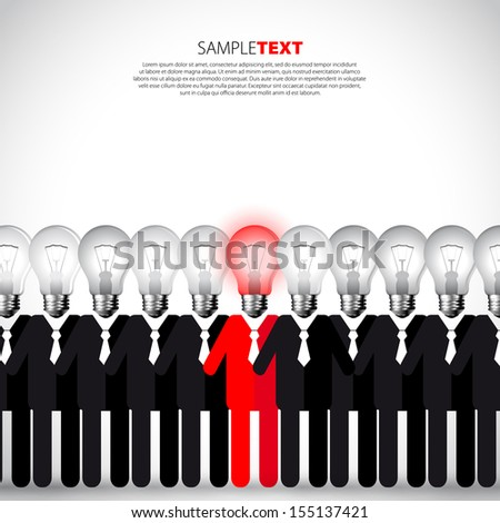 Unique person in the crowd - Vector illustration EPS10 - stock vector