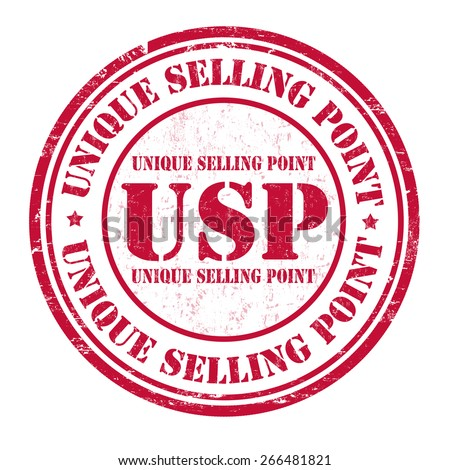 Unique Selling Point (USP) grunge rubber stamp on white background, vector illustration - stock vector