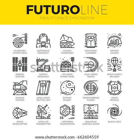 Unique thin line icons set of space exploration and planetary base. Premium quality outline symbol collection. Modern linear pictogram pack of metaphors. Stroke vector logo concept for web graphics.
