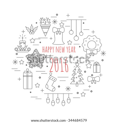 Unique vector concept with different christmas and new year celebration elements. Easy to edit. Illustration for t-shirts, banners, flyers and other types of business design. - stock vector