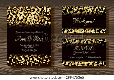 Unique vector wedding cards template with gold glitter texture decoration on wood texture background, Wedding invitation or save the date, RSVP and thank you card for bridal design, trendy gold style - stock vector