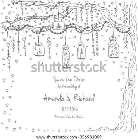 Unique vector wedding cards template with hand drawn tree decorated with lantern, hearts, candle, garland, Wedding invitation or save the date, RSVP and thank you card for bridal design, natural style - stock vector