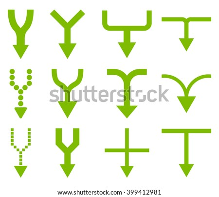 Unite Arrows Down vector icon set. Collection style is eco green flat symbols on a white background. - stock vector