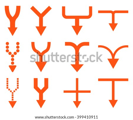 Unite Arrows Down vector icon set. Collection style is orange flat symbols on a white background. - stock vector