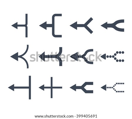 Unite Arrows Left vector icon set. Collection style is smooth blue flat symbols on a white background. - stock vector