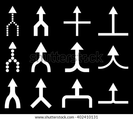 Unite Arrows Up vector icon set. Collection style is white flat symbols on a black background. Unite Arrows Up icons. - stock vector