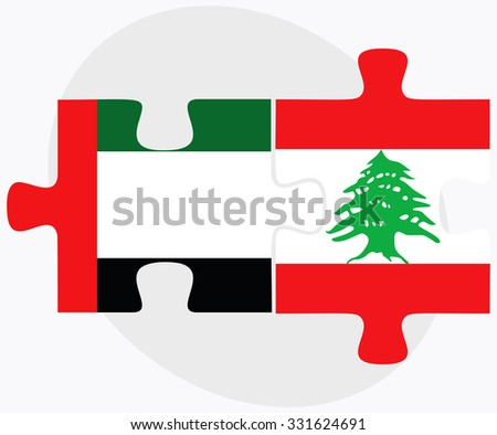 United Arab Emirates and Lebanon Flags in puzzle isolated on white background - stock vector