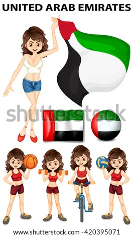 United Arab Emirates flag and athletes illustration - stock vector