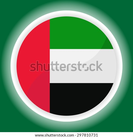 United Arab Emirates flag button on  green background - stock vector