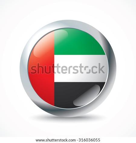 United Arab Emirates flag button - vector illustration - stock vector