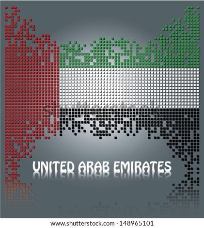 United Arab Emirates flag from square vector blocks, eps10 - stock vector