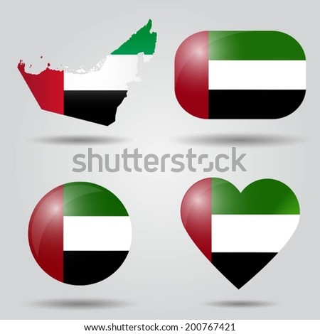 United Arab Emirates flag set in map, oval, circular and heart shape.  - stock vector