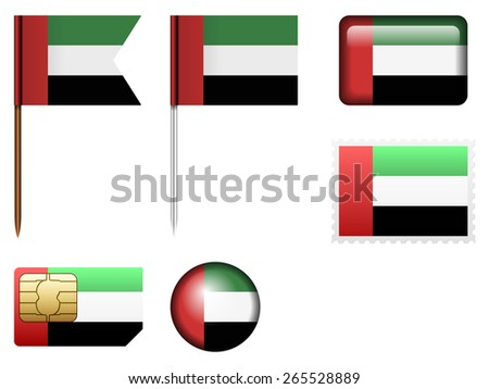 United Arab Emirates flag set on a white background.
