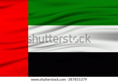 United Arab Emirates flag, three dimensional render, satin texture - stock vector