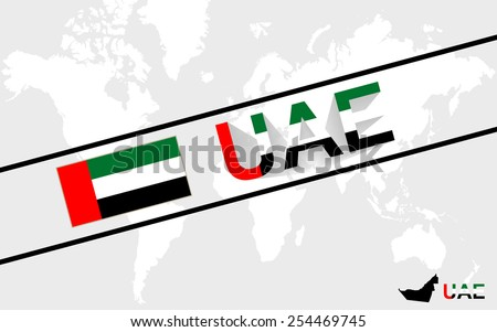 United Arab Emirates map flag and text illustration, on world map - stock vector