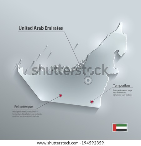United Arab Emirates map glass card paper 3D vector - stock vector
