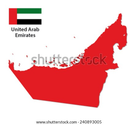 united arab emirates map with flag - stock vector