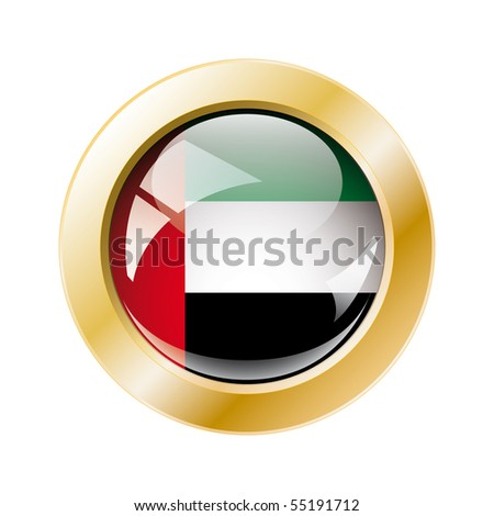 United arab emirates shiny button flag with golden ring vector illustration. Isolated abstract object against white background. - stock vector