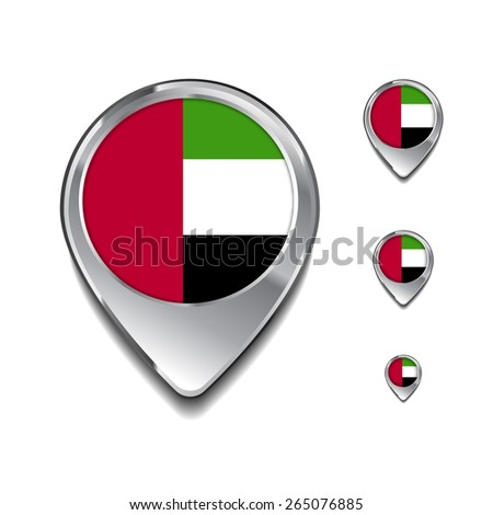 United Arab Emirates UAE flag map pointer. 3d Map Pointer with flag glossy button style on gray background - stock vector