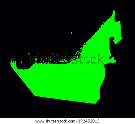 United Arab Emirates vector green map isolated on black background. High detailed illustration.  - stock vector