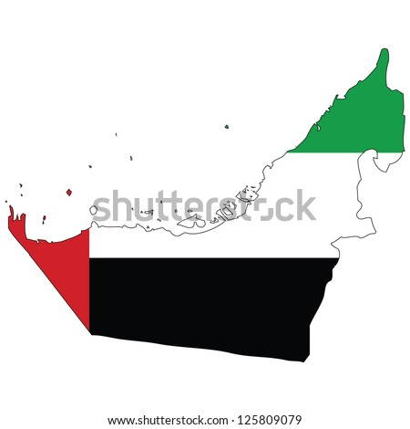 United Arab Emirates vector map with the flag inside. - stock vector