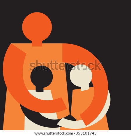 united family: mom embracing her two kids causing them make it up - stock vector