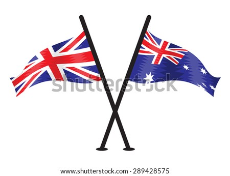 United Kingdom and Australia vector flags - stock vector
