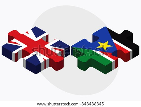 United Kingdom and South Sudan Flags in puzzle isolated on white background