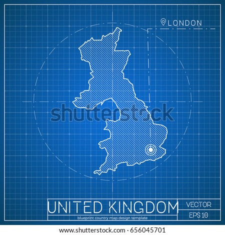United kingdom blueprint map template capital stock vector 656045701 united kingdom blueprint map template with capital city london marked on blueprint british map malvernweather Gallery
