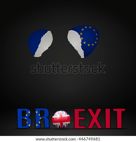 United Kingdom Brexit Cracked eggs - stock vector