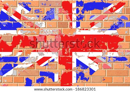 United Kingdom, British Flag on an Old Grunge Brick Wall. - Vector EPS 10. - stock vector