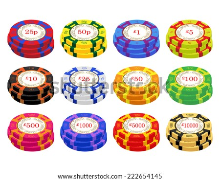United Kingdom casino chip vectors. 25 pence to ten thousand pounds  - stock vector