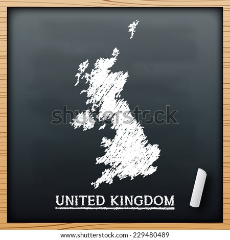 United kingdom chalkboard design effect  in vector format - stock vector