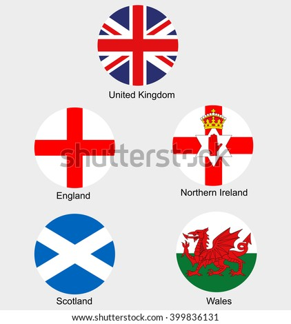 United Kingdom collection flags and national emblems of England Northern Ireland Wales Scotland