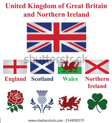 United Kingdom collection of flags and national emblems of England Scotland Wales Northern Ireland isolated on white background - stock vector
