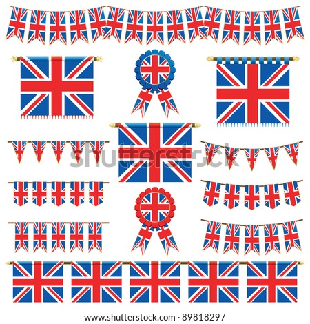 united kingdom decorative banners and bunting isolated on white - stock vector