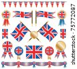 united kingdom decorative ribbons, flags and rosettes isolated on white - stock vector