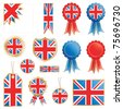 united kingdom decorative rosettes and flags isolated on white - stock photo