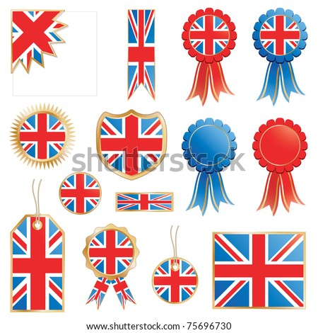 united kingdom decorative rosettes and flags isolated on white - stock vector