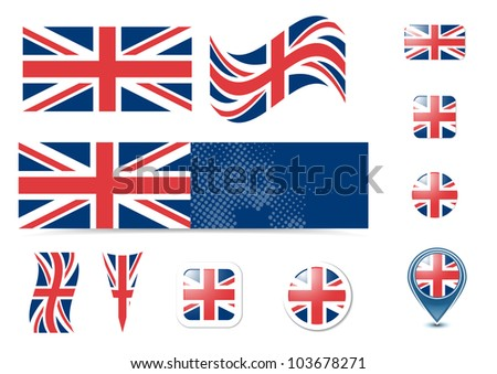 United Kingdom flag and buttons set, eps10 vector illustration - stock vector